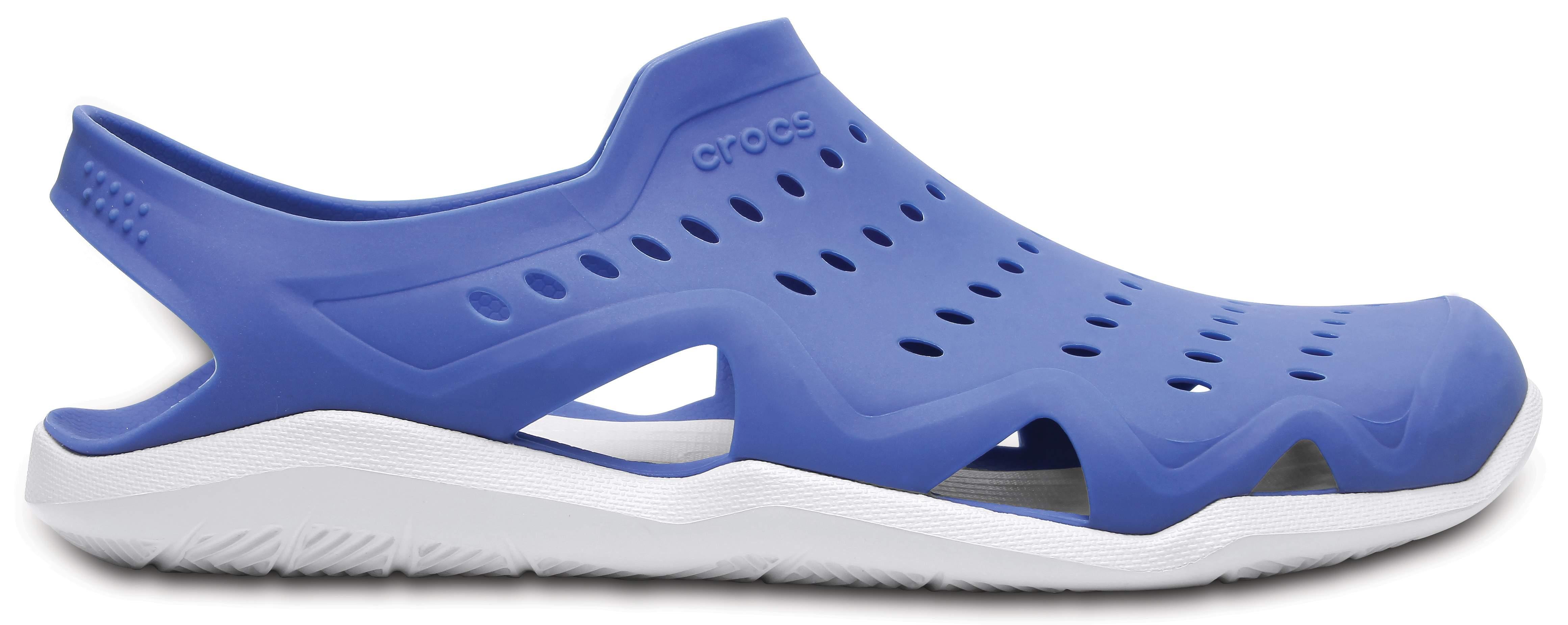Crocs Men's Swiftwater Wave Croslite Waterproof Sandal Blue Jean/Pearl White-Blue-8 Size 8