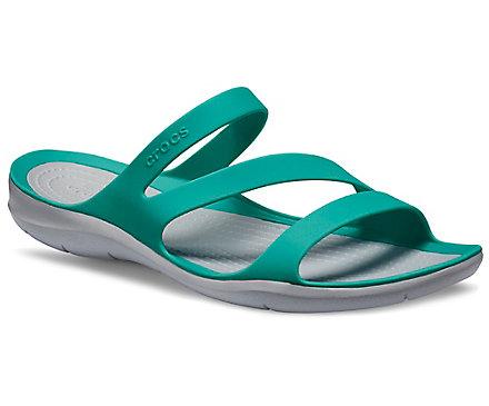 Crocs Flip Flops Womens 9 Turquoise Aqua White Slip On Sandal