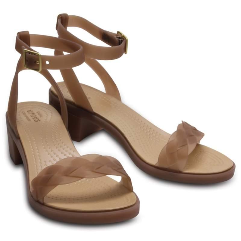 【クロックス公式】 クロックス イザベラ ブロック ヒール ウィメン Women's Crocs Isabella Block Heel ウィメンズ、レディース、女性用 ブラウン/茶 24cm,25cm heel ヒール パンプス ミュール 30%OFF