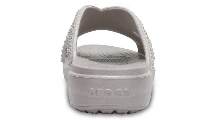 005748924588b Crocs Womens Crocssloane Embellished XSTRAP Slide Sandal Platinum 7 ...