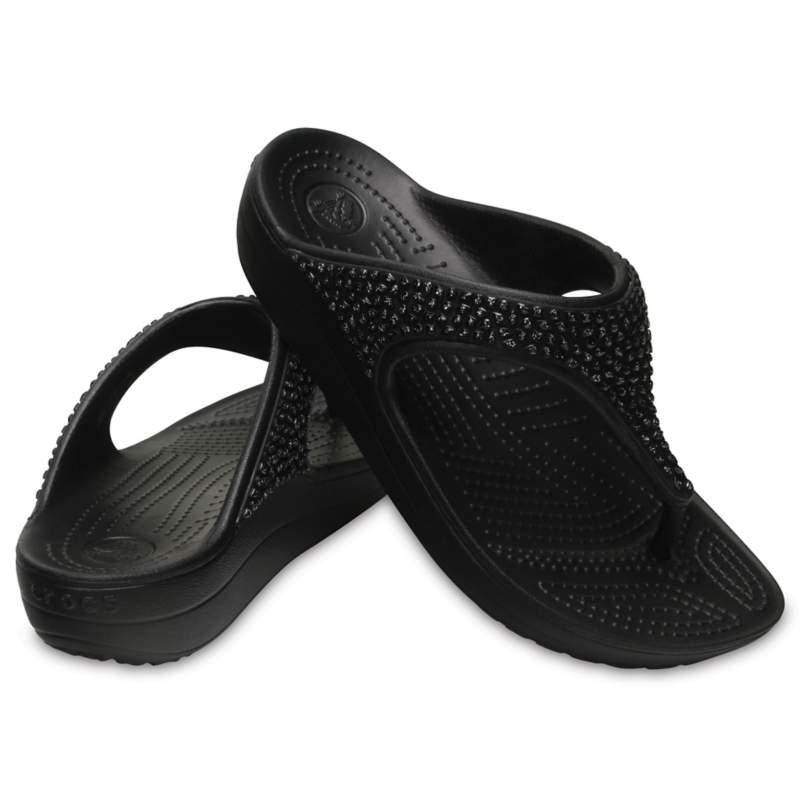 【クロックス公式】 クロックス スローン エンベリッシュド フリップ ウィメン Women's Crocs Sloane Embellished Flip ウィメンズ、レディース、女性用 ブラック/黒 21cm,22cm,23cm,24cm,25cm flip ビーチサンダル フリップサンダル ビーサン