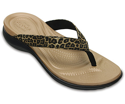 Crocs Women's Capri V Graphic Flip Flop (Leopard)