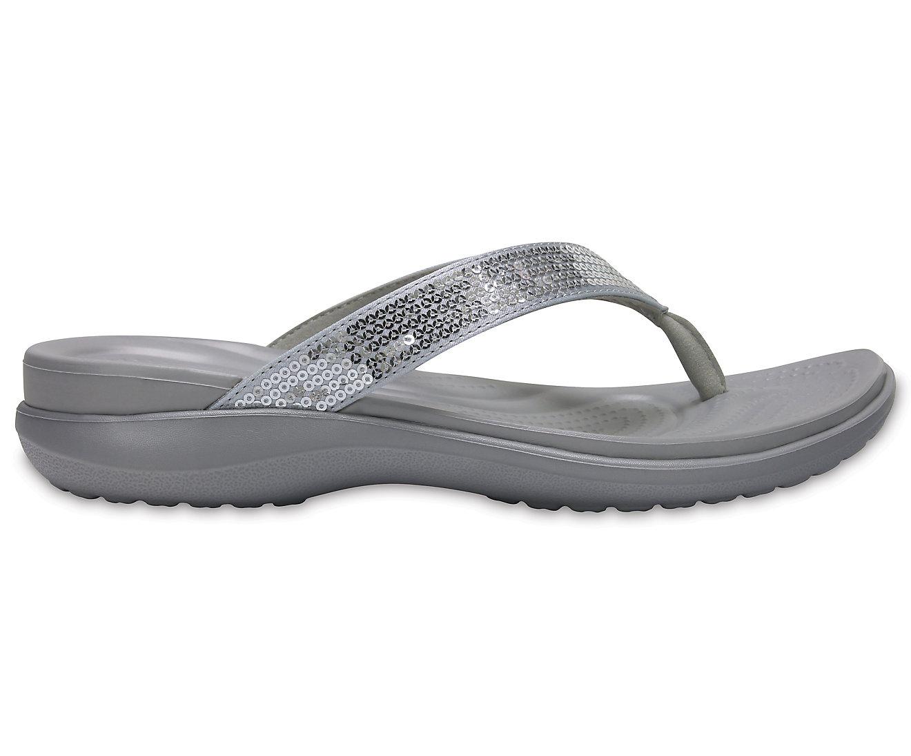 717f1ed833 Details about NEW Genuine Crocs Women Capri V Sequin Silver
