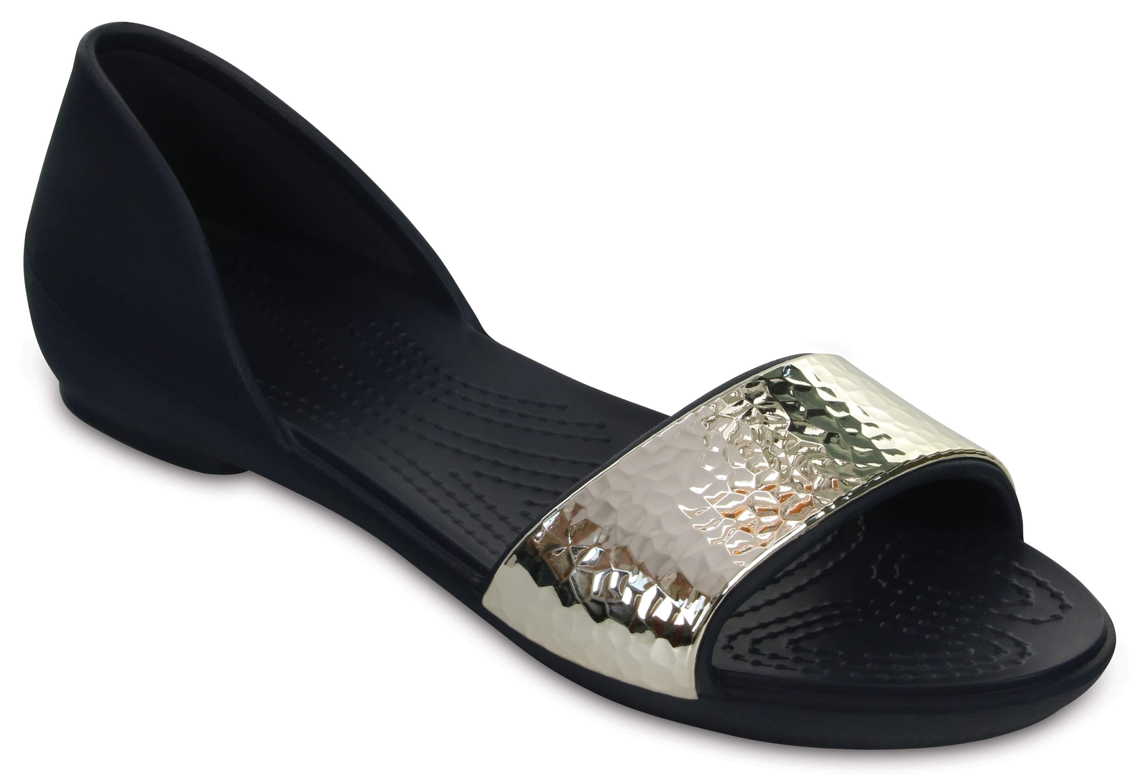 Womens Crocslina Embellish Dorsayflat Blk/MLTI Ballet Flats Crocs