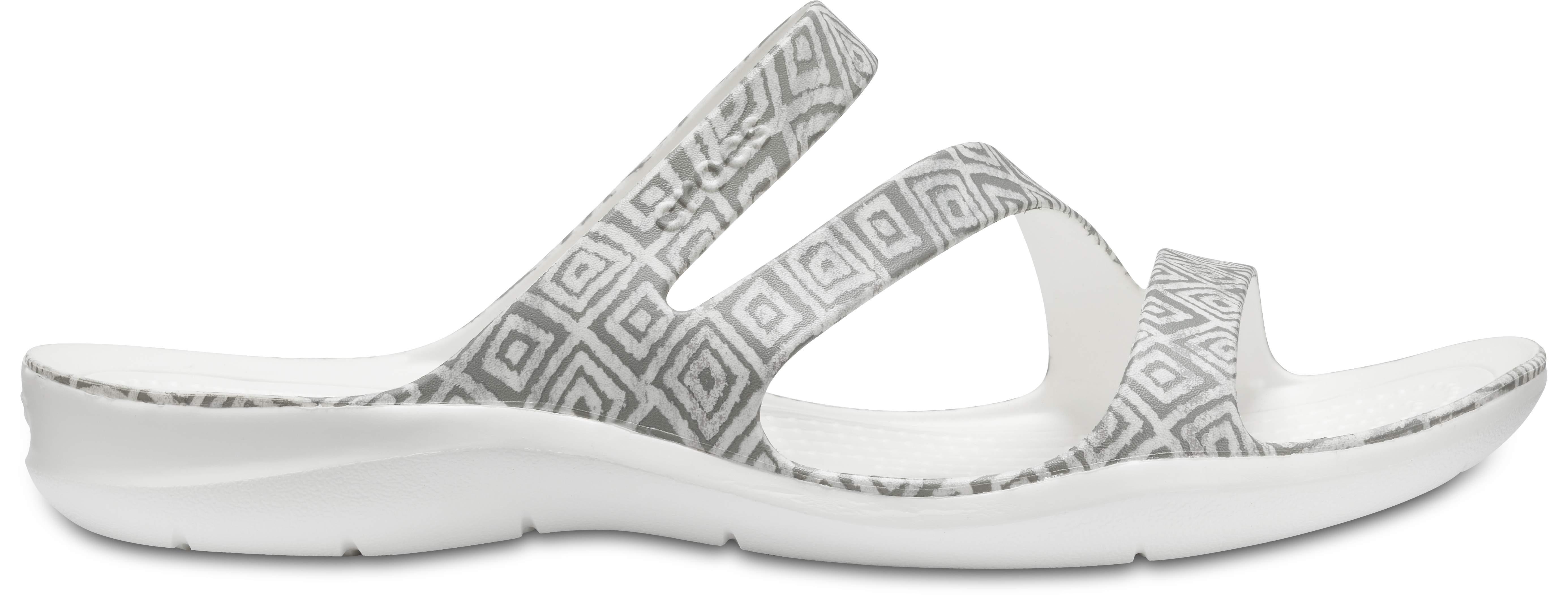 Crocs Women'S Swiftwater Graphic Slip on Sandal Grey Diamond/White-Grey-7 Size 7