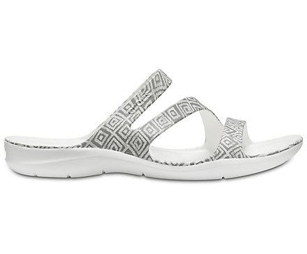 Crocs Women'S Swiftwater Graphic Slip on Sandal Grey Diamond/White-Grey-7 Size 7 LH4vp
