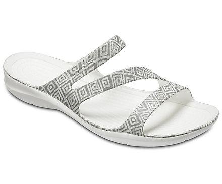 Crocs SWIFTWATER GRAPHIC - Pool sliders - grey diamond/white x47DK8od