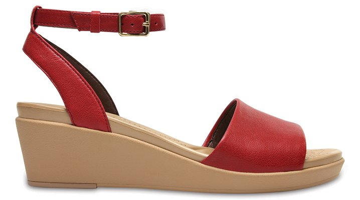 b04d9ce928ee Crocs Womens Leigh-Ann Ankle Strap Leather Mini Wedge Sandal