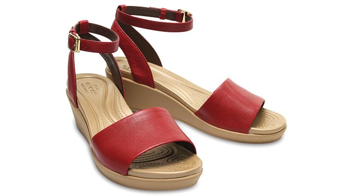 ef2e84818589 Crocs Womens Leigh-Ann Ankle Strap Leather Mini Wedge Sandal