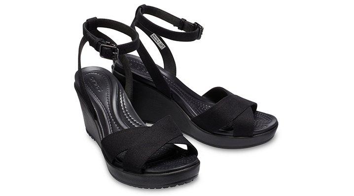 Crocs-Womens-Leigh-II-Cross-Strap-Ankle-Wedge thumbnail 9