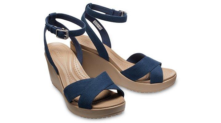 Crocs-Womens-Leigh-II-Cross-Strap-Ankle-Wedge thumbnail 15
