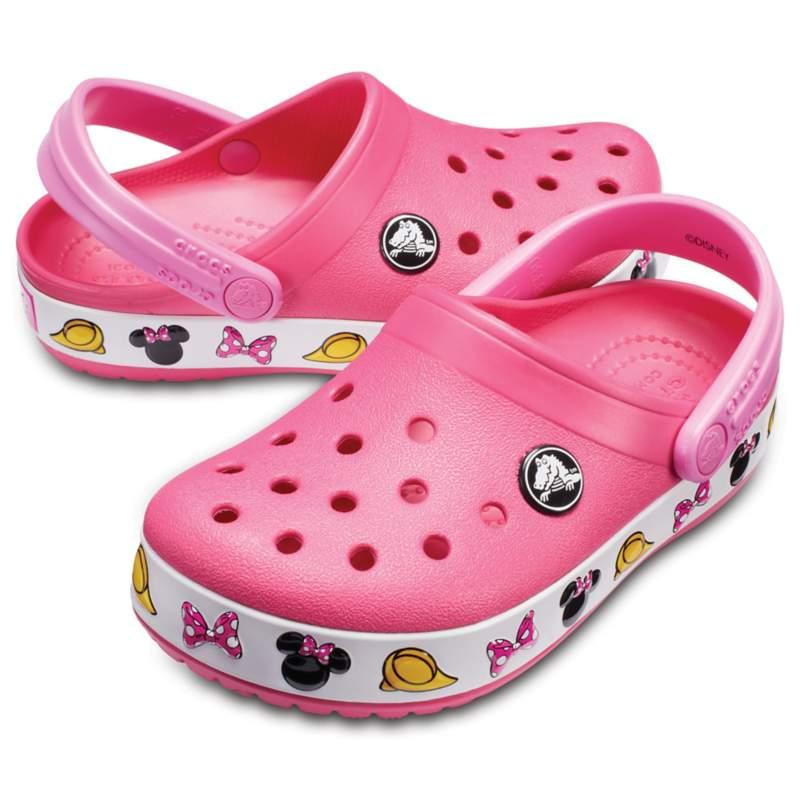 [クロックス公式] クロッグ クロックバンド「ディズニー ミニー」 クロッグ キッズ ガールズ、キッズ、子供用、女の子 ピンク 18cm Kids' Crocband Disney 'Minnie Mouse' Clog 30%OFF セール アウトレット