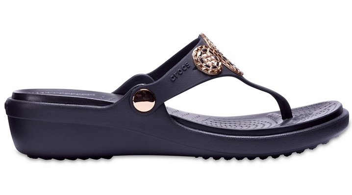 Crocs-Womens-Sanrah-Embellished-Diamante-Wedge-Flips thumbnail 8