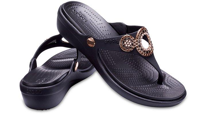 Crocs-Womens-Sanrah-Embellished-Diamante-Wedge-Flips thumbnail 9