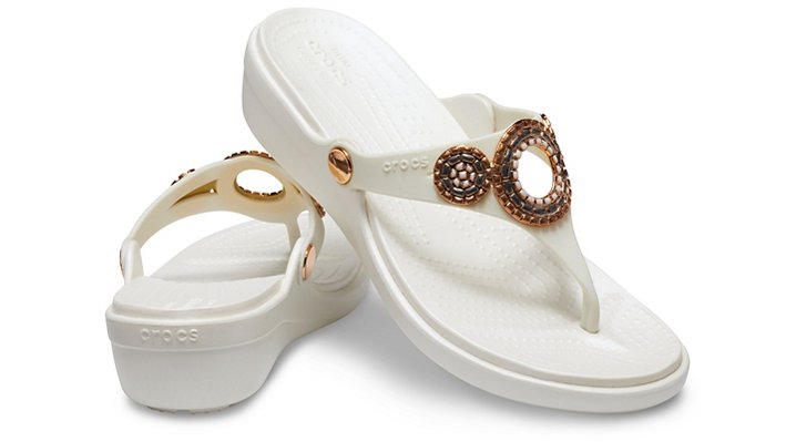 Crocs-Womens-Sanrah-Embellished-Diamante-Wedge-Flips thumbnail 21