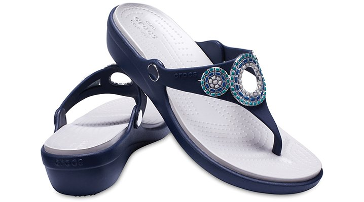 Crocs-Womens-Sanrah-Embellished-Diamante-Wedge-Flips thumbnail 15