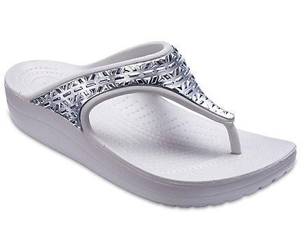 Women's Crocs Sloane Graphic Etched Metallic Flips