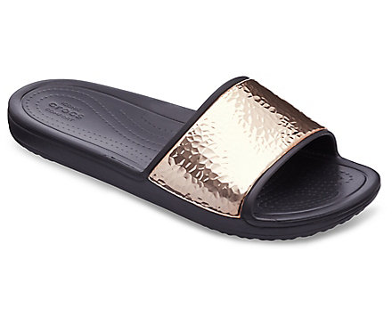 Women's Crocs Sloane Hammered Metallic Slides