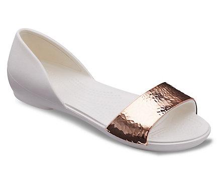 153cd130b6ed83 Women s Crocs Lina D Orsay Hammered Metallic Flat - Crocs