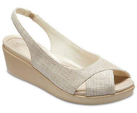 3ac613f2f194 Women s Crocs Leigh Ann Shimmer Slingback Wedge - Crocs