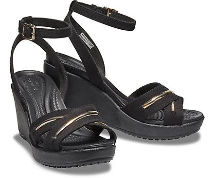 Women's Leigh II MetalBlock Cross Strap Ankle Wedge Crocs