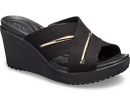 c7bfcac390ab Women s Leigh II Metal-Block Cross-Strap Wedge - Crocs