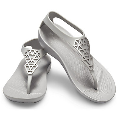 6ea5675dd266 Crocs Women s Crocs Serena Embellished Flip Gray 205600-00N