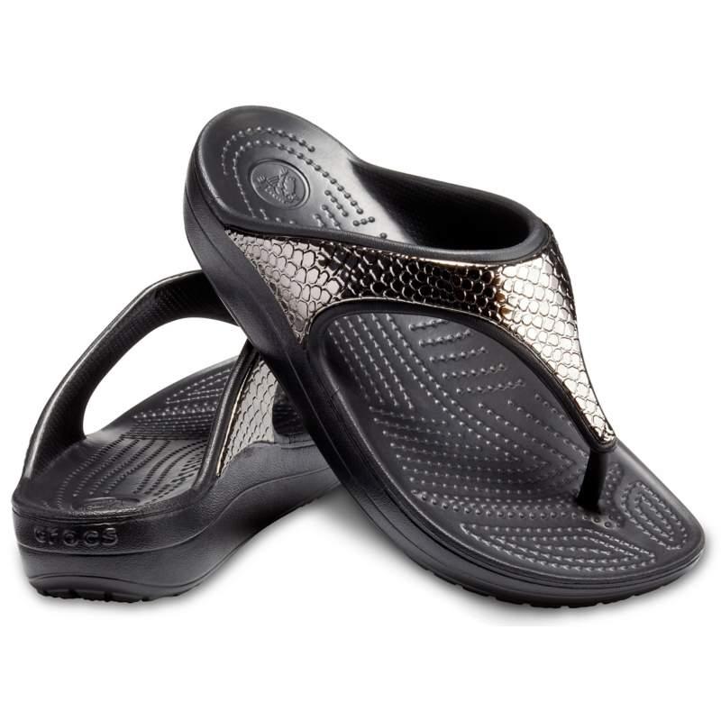 【クロックス公式】 クロックス スローン メタリック テクスチャー フリップ ウィメン Women's Crocs Sloane Metallic Texture Flip ウィメンズ、レディース、女性用 ブラック/黒 21cm,22cm,23cm,24cm,25cm flip ビーチサンダル フリップサンダル ビーサン 20%OFF