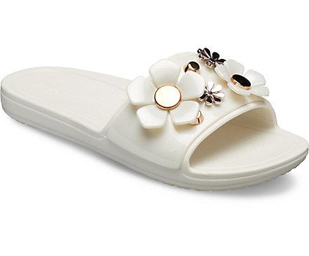 636a7607f2b10 Women's Crocs Sloane Metallic Blooms Slide - Crocs