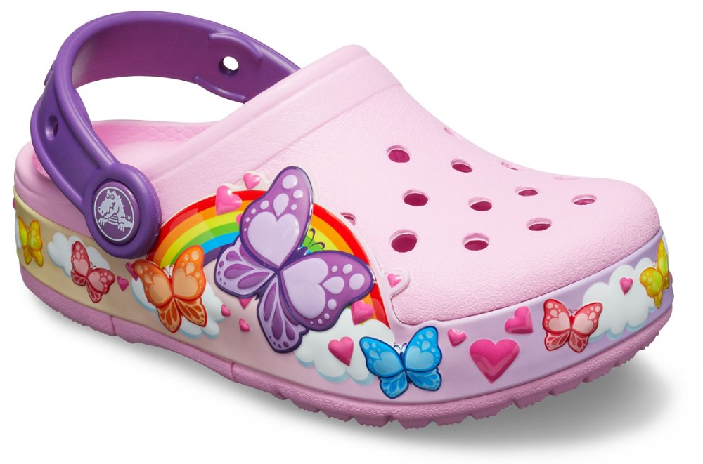 Crocs Kids Classic Butterfly Clog|Water Shoe for Toddlers|Slip on Girls Sandal