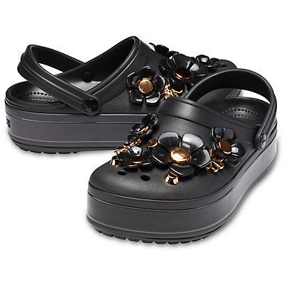 ea4a4b0015 Crocs Crocband Platform Metallic Blooms Clog Black 205700-001