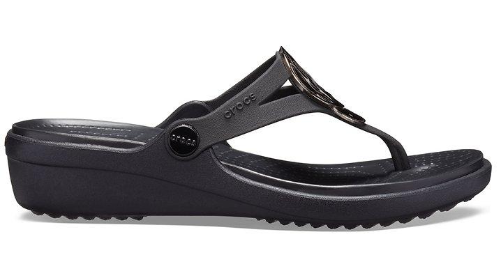 Crocs-Womens-Sanrah-Liquid-Metallic-Wedge-Flip thumbnail 8