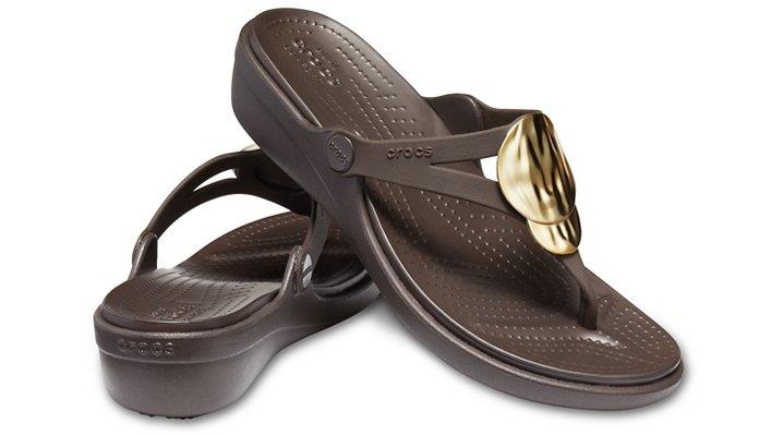 Crocs-Womens-Sanrah-Liquid-Metallic-Wedge-Flip thumbnail 15