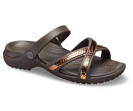 89960545e Women s Meleen Metallic Texture Cross-Band Sandal - Crocs