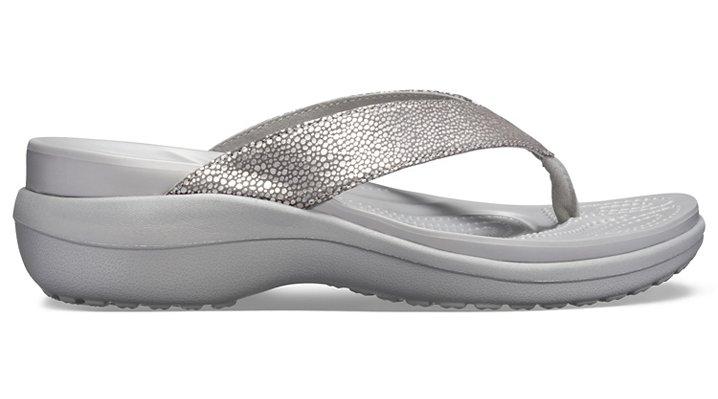 Crocs-Womens-Capri-Metallic-Texture-Wedge-Flip thumbnail 20