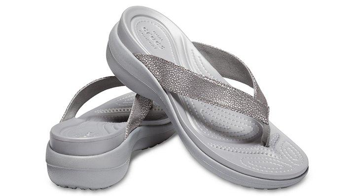 Crocs-Womens-Capri-Metallic-Texture-Wedge-Flip thumbnail 21
