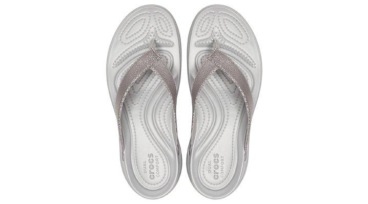 Crocs-Womens-Capri-Metallic-Texture-Wedge-Flip thumbnail 22
