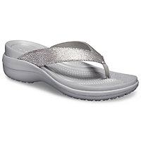 Deals on Crocs Women's Capri Metallic Texture Wedge Flip