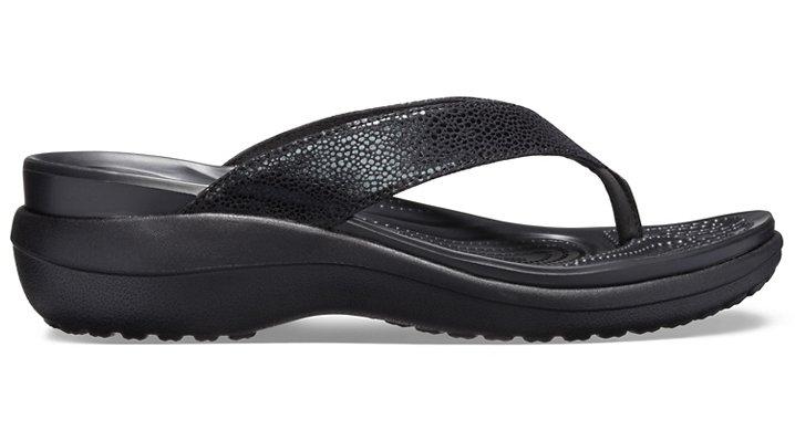 Crocs-Womens-Capri-Metallic-Texture-Wedge-Flip thumbnail 8