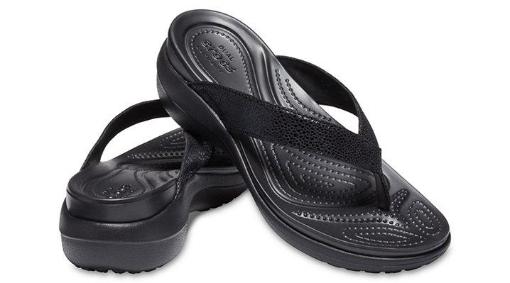 Crocs-Womens-Capri-Metallic-Texture-Wedge-Flip thumbnail 9