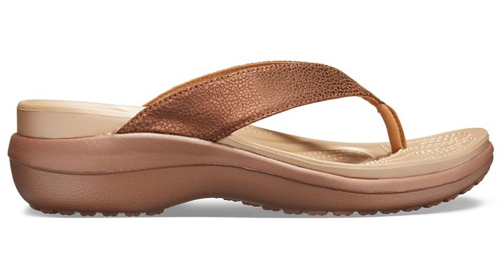 Crocs-Womens-Capri-Metallic-Texture-Wedge-Flip thumbnail 14