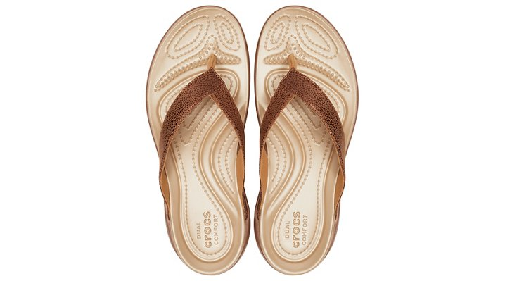 Crocs-Womens-Capri-Metallic-Texture-Wedge-Flip thumbnail 16