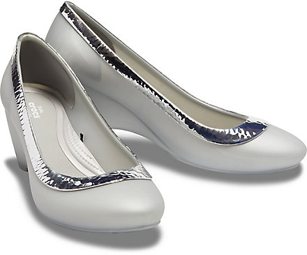 107a327d36a2b Women's Crocs Lina Hammered Metallic Wedge - Crocs