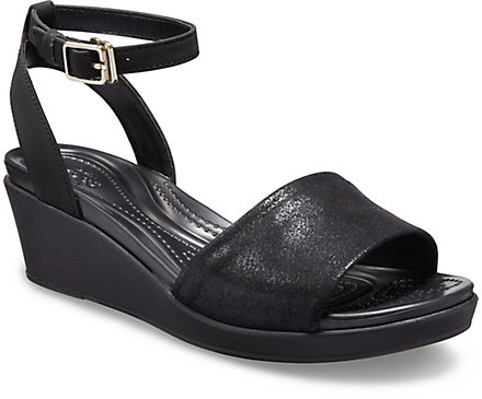 Women's Crocs LeighAnn Shimmer Ankle Strap Wedge Crocs