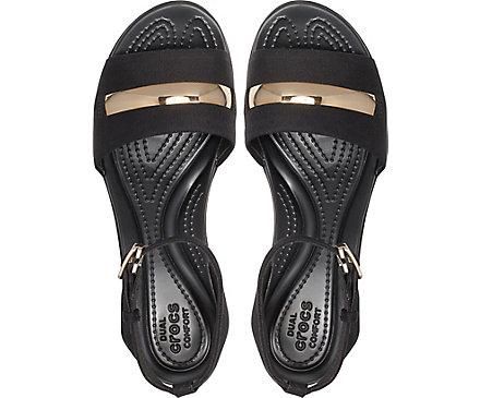 13db3e7c5836 Women s Leigh Ann Metal-Block Ankle-Strap Wedge - Crocs