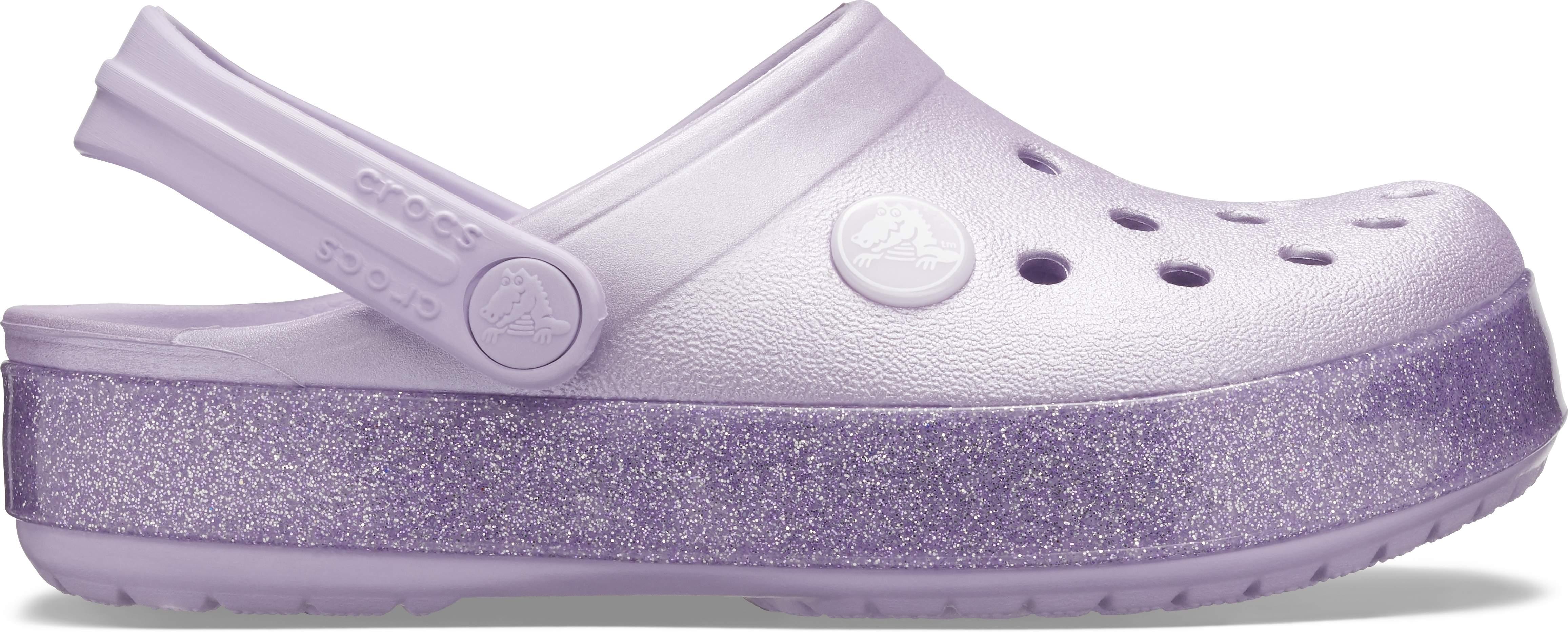 crocs Clog mit Fersenriemen Crocband Glitter Clog Kids Silber Croslite Normal Ki