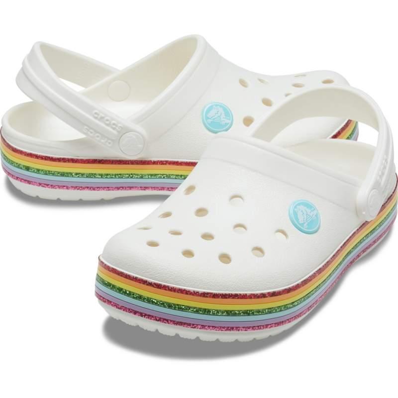 【クロックス公式】 クロックバンド レインボー グリッター クロッグ キッズ Kids' Crocband Rainbow Glitter Clog ガールズ、キッズ、子供用、女の子 ホワイト/白 16.5cm,19.5cm clog クロッグ サンダル 30%OFF