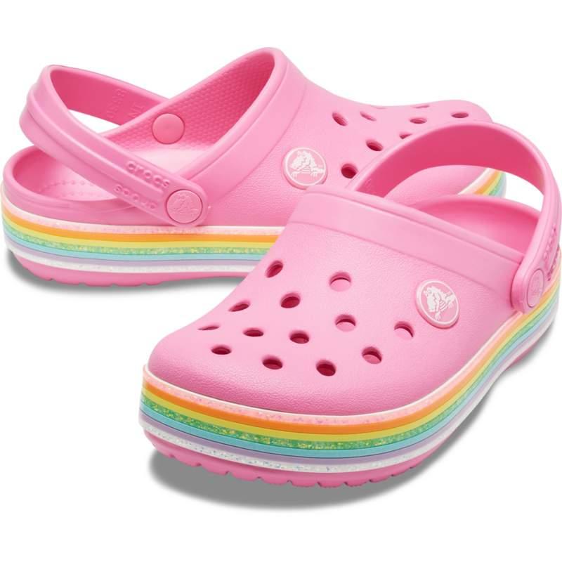 【クロックス公式】 クロックバンド レインボー グリッター クロッグ キッズ Kids' Crocband Rainbow Glitter Clog ガールズ、キッズ、子供用、女の子 ピンク/ピンク 14cm,15.5cm,16.5cm,17.5cm,18.5cm clog クロッグ サンダル 30%OFF
