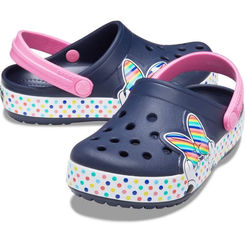 【クロックス公式】 クロックス ファン ラブ ディズニー「ミニー マウス」スタイル クロッグ キッズ Kids' Crocs Fun Lab Disney 'Minnie Mouse' Style Clog ガールズ、キッズ、子供用、女の子 ブルー/青 1