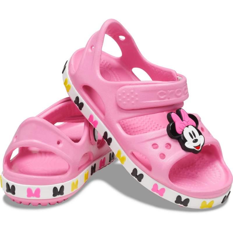 [クロックス公式] サンダル クロックス ファン ラブ クロックバンド ディズニー 「ミニーマウス」 サンダル キッズ ガールズ、キッズ、子供用、女の子 ピンク 15cm Kids' Crocs Fun Lab Crocband Disney Minnie
